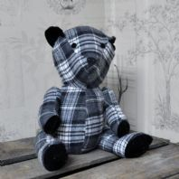 Check Fabric Teddy Bear Door Stop